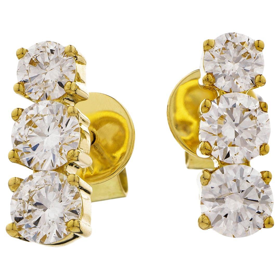 Diamond Round Cut 1.30 Carat Three-Stone 18 Karat Yellow Gold Stud Drop Earrings