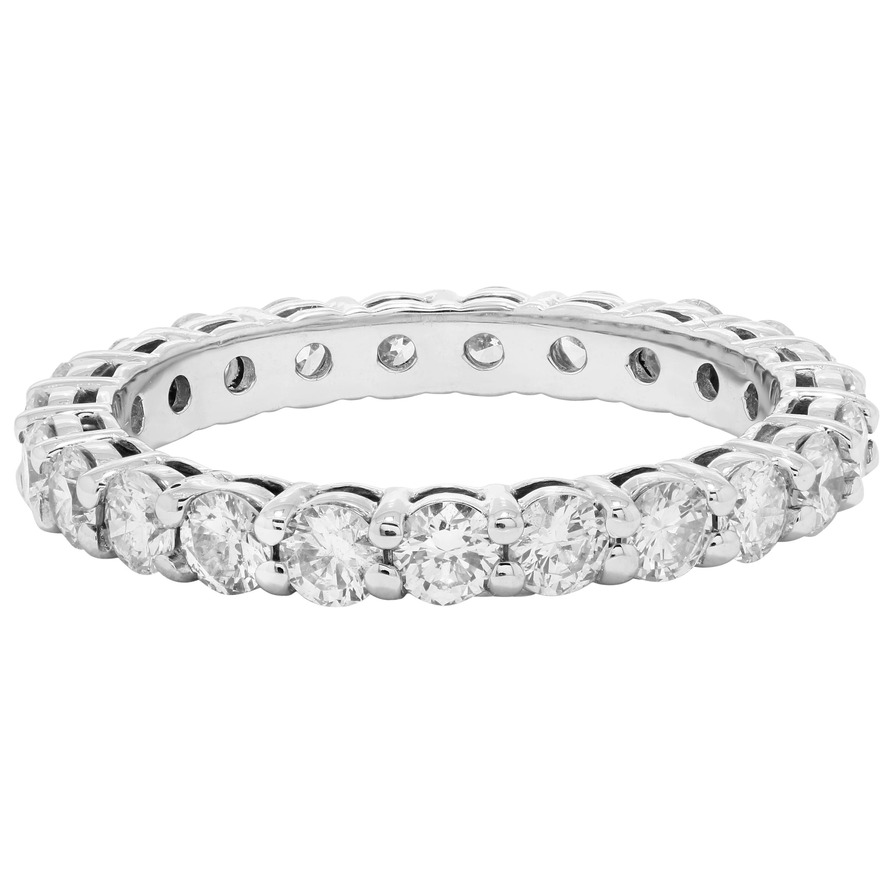 Diamond Round Gold Eternity Bridal Wedding Stackable Cocktail Fashion Band Ring