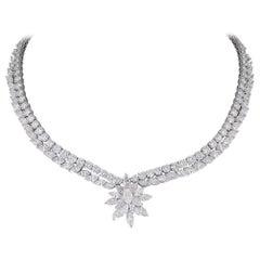 Round and Marquise Diamond Platinum Starburst Necklace