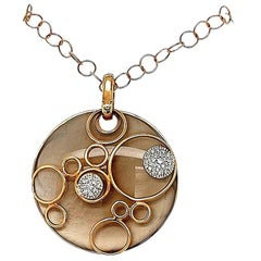 Diamond Round Reversible Mother of Pearl Pendant Necklace