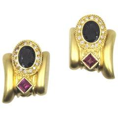 Diamond Rubelite Onyx Intaglio Brushed 18 Karat Yellow Gold Clip Earrings