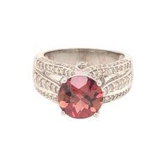 Diamond Rubellite Ring 14k Gold 3.65 Ct Women Certified