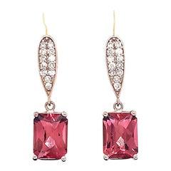 Diamond Rubellite Tourmaline Earrings 14 Karat White Gold 3.18 Carat Certified