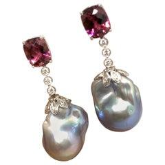 Diamond Rubellite Tourmaline Pearl Earrings 18k White Gold 6.25 TCW Certified
