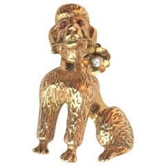 Diamond Ruby 14 Karat Yellow Poodle Dog Brooch