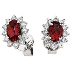 Diamond Ruby 1.66ct Cluster Earrings Round Oval Studs Modern 18 Karat White Gold