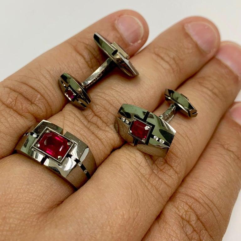 Diamond Ruby 18 Karat Black Gold Cufflinks For Sale 1