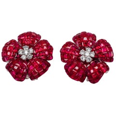 Diamond Ruby 18 Karat White Gold Invisible Clip-On Earrings