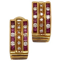 Diamond Ruby 18 Karat Yellow Gold Half Hoop Leverback Vintage Earrings