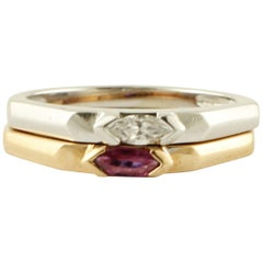 Diamond, Ruby, 18 Karat White and Rose Gold Double Ring
