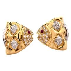 Diamond Ruby 18 Karat Yellow and White Gold Fish Motif Earrings
