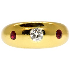 Diamond, Ruby and 18 Karat Gold Ring