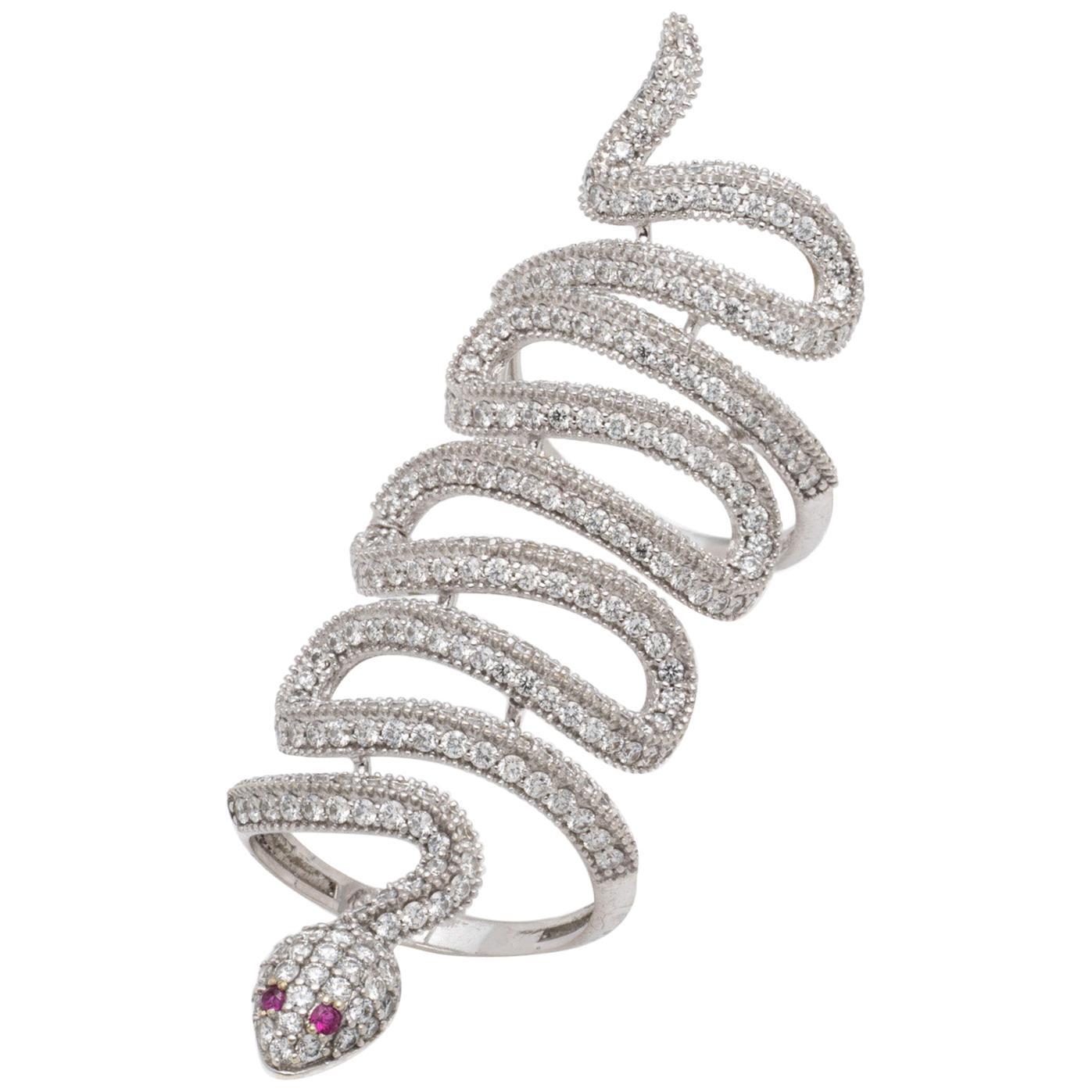 Diamond, Ruby and 18 Karat White Gold Snake Ring