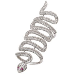 Diamond, Ruby and 18 Karat White Gold Snake Ring