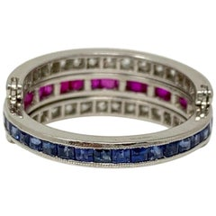 Diamond, Ruby and Blue Sapphire Flip Flop Twin Ring in Platinum