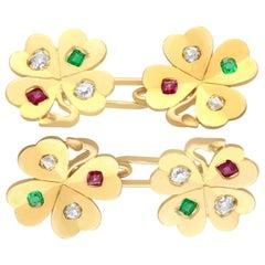 Diamond Ruby and Emerald Yellow Gold Clover Cufflinks