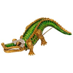 Diamond, Ruby and Enamel Alligator Pin Brooch, 18 Karat Gold