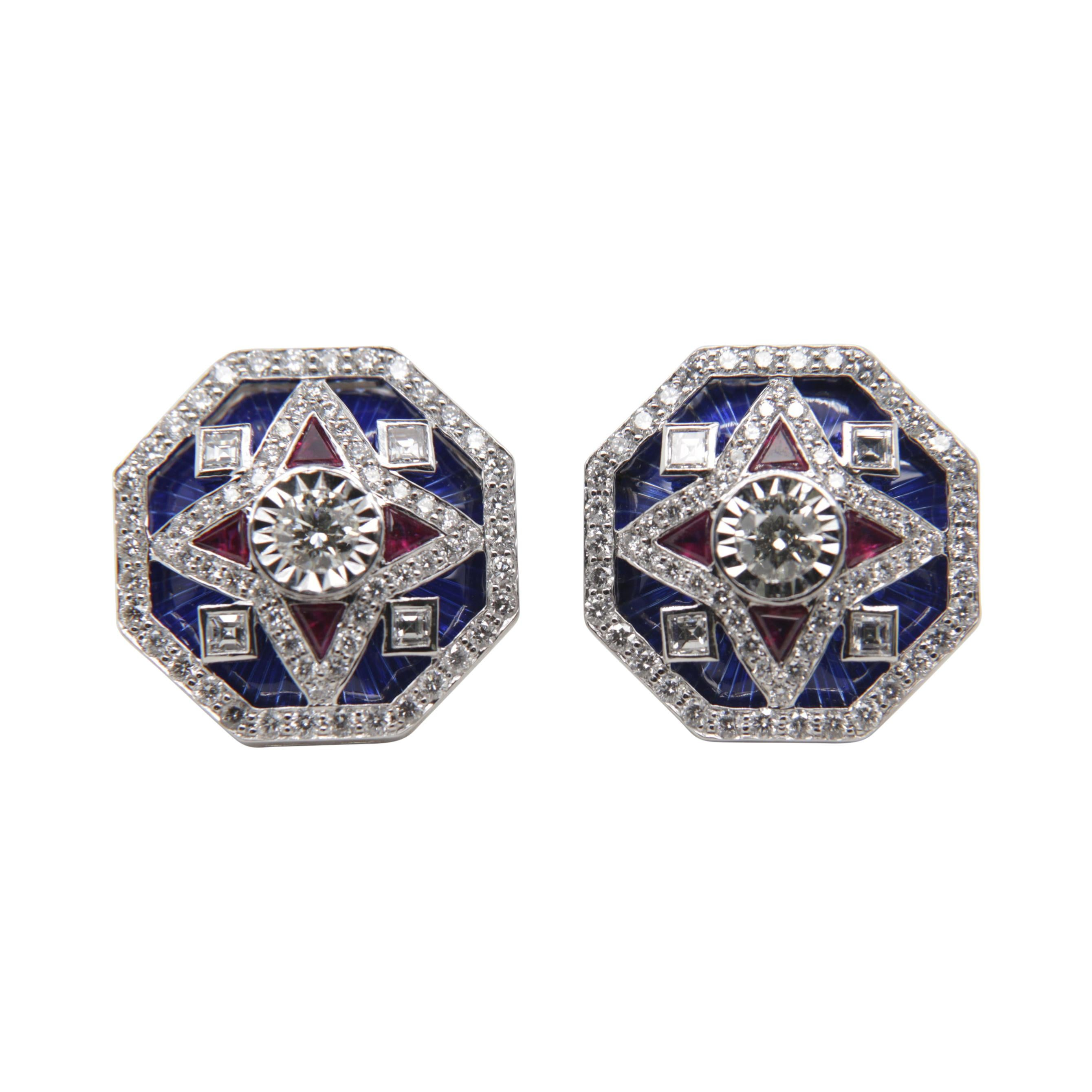 Diamond, Ruby and Enamel Cufflinks in 18 Karat Gold