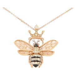 Diamond, Ruby and Mother of Pearl Queen Bee Necklace in 18k Rose Gold