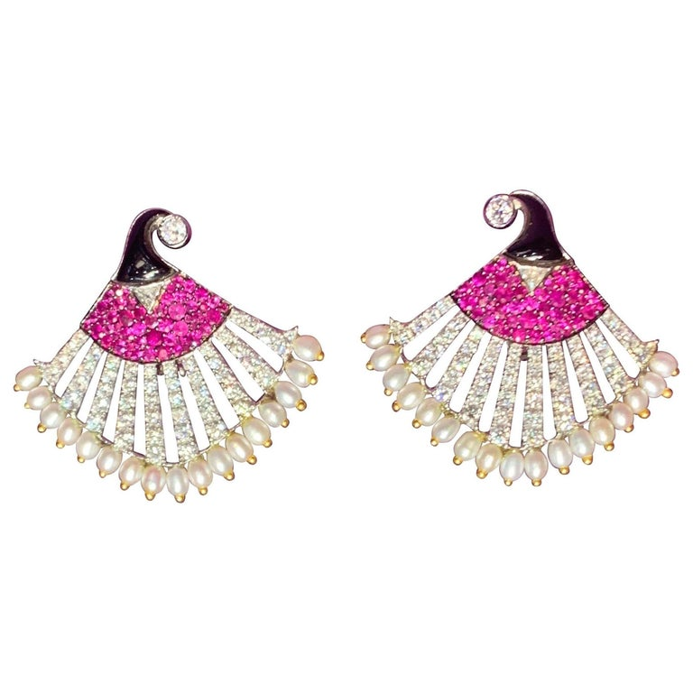Diamond Ruby and Pearl Egyptian Revival Earrings For Sale