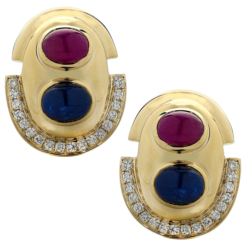 Diamond, Ruby and Sapphire Earrings