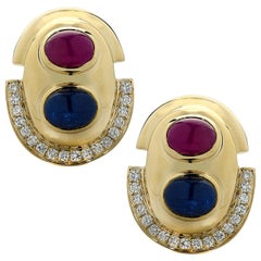 Diamond, Ruby and Sapphire Earrings