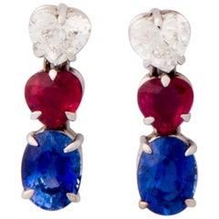 Diamond, Ruby and Sapphire Heart Shaped Drop Earrings
