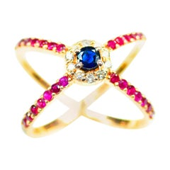 Diamond, Ruby and Sapphire Statement Ring in 14 Karat Rose Gold