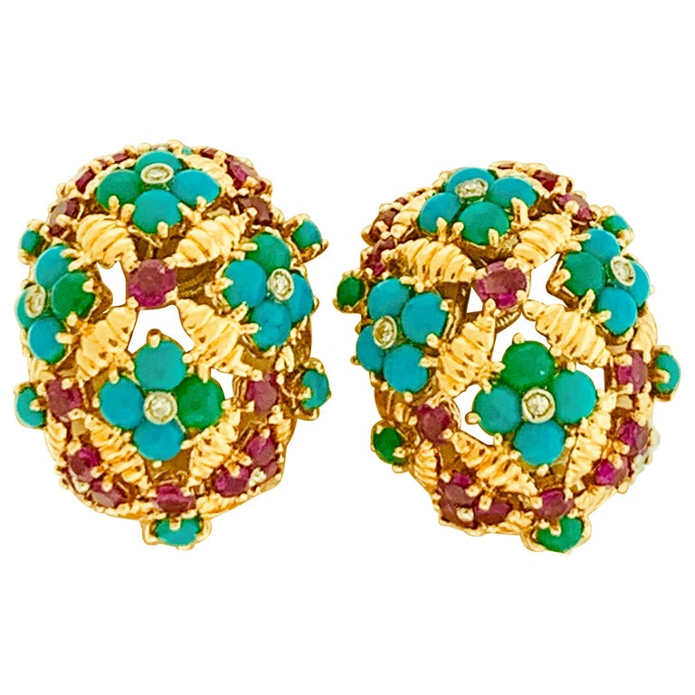 Diamond Ruby and Turquoise Clip Earrings in 18 Karat Yellow Gold 17 Grams For Sale