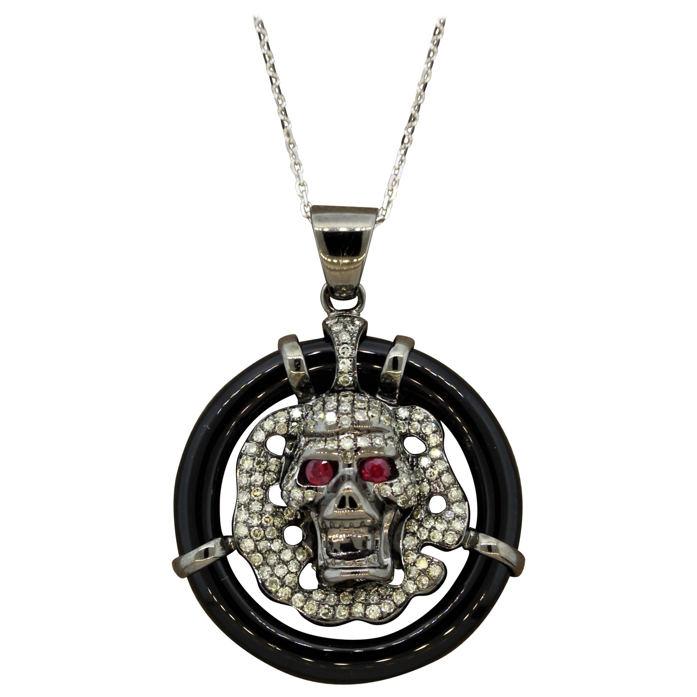 Diamond Ruby Black-Onyx Gold Skull Pendant