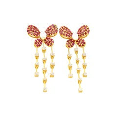 Diamond and Ruby Butterfly Earrings in 14 Karat Yellow Gold