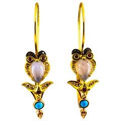 """Diamond Ruby Chalcedony Enamel Turquoise Yellow Gold Lever-Back """"Owl"""" Earrings"""