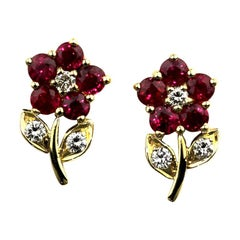 Diamond & Ruby Cluster Earrings with Pin & Push on Butterfly in 18K Yellow Gold