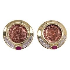 Diamond Ruby Coin 14 Karat Yellow Gold Earrings Lever Backs