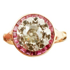 Diamond, Ruby Crown, 14 Karat Gold and Silver Classic Retrò Style Cluster Ring