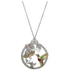 Diamond, Ruby, Demantoid Garnet and Gold Hummingbird Pendant Necklace