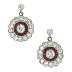 Diamond Ruby Drop Earrings Dangle Halo Platinum Art Deco Edwardian Revival