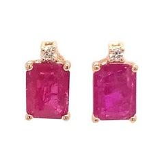 Diamond Ruby Earrings 2.04 Carat 14 Karat Yellow Gold Certified