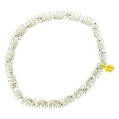 Diamond Ruby Elephant 18 Karat White Gold Bracelet Necklace Set