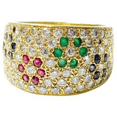 Diamond, Ruby, Emerald and Blue Sapphire Ring in 18 K Gold