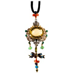 Diamond Ruby Emerald Citrine Peridot Turquoise Pearl Enamel Yellow Gold Necklace