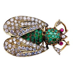 Diamond Ruby Emerald Gold May Beetle Brooch