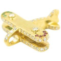 Diamond Ruby Emerald Jeweled Airplane Plane Yellow Gold Necklace Pendant Charm