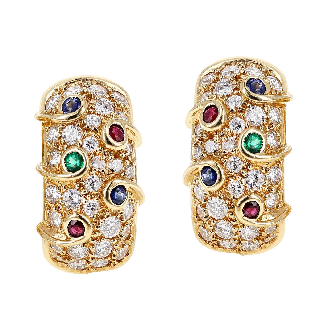 Diamond, Ruby, Emerald, Sapphire Cocktail Clip-On Earrings, 18 Karat Yellow Gold
