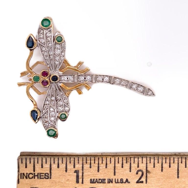 Modern Diamond Ruby Emerald Sapphire Dragonfly Vintage Pin Brooch 14 Karat Yellow Gold For Sale