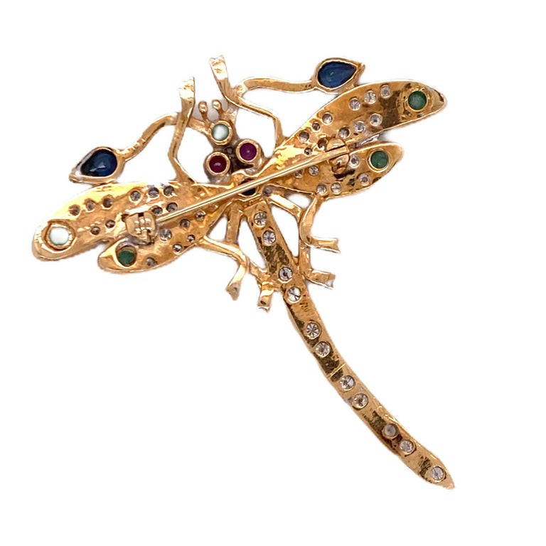 Round Cut Diamond Ruby Emerald Sapphire Dragonfly Vintage Pin Brooch 14 Karat Yellow Gold For Sale