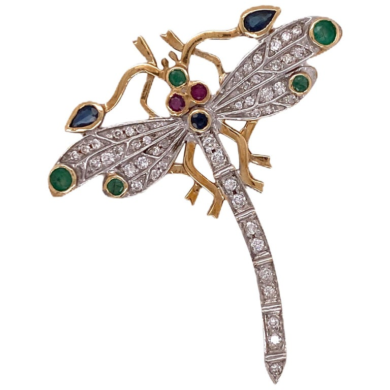 Diamond Ruby Emerald Sapphire Dragonfly Vintage Pin Brooch 14 Karat Yellow Gold For Sale