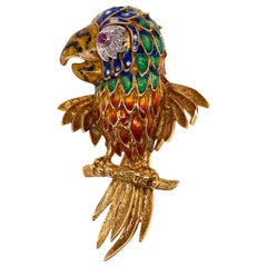 Diamond Ruby Enamel Parrot Pin Brooch 18 Karat Yellow Gold