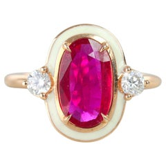 Diamond Ruby Enameled Art Deco Style Cocktail Ring
