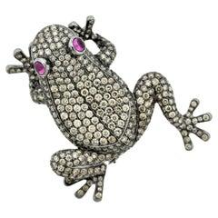 Diamond Ruby Gold Frog Brooch